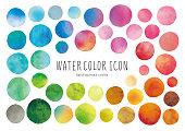 Watercolor circle icons