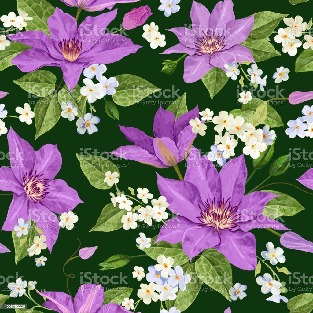 Ilustración De Flores Acuarela Clematis Patrón Transparente Tropical