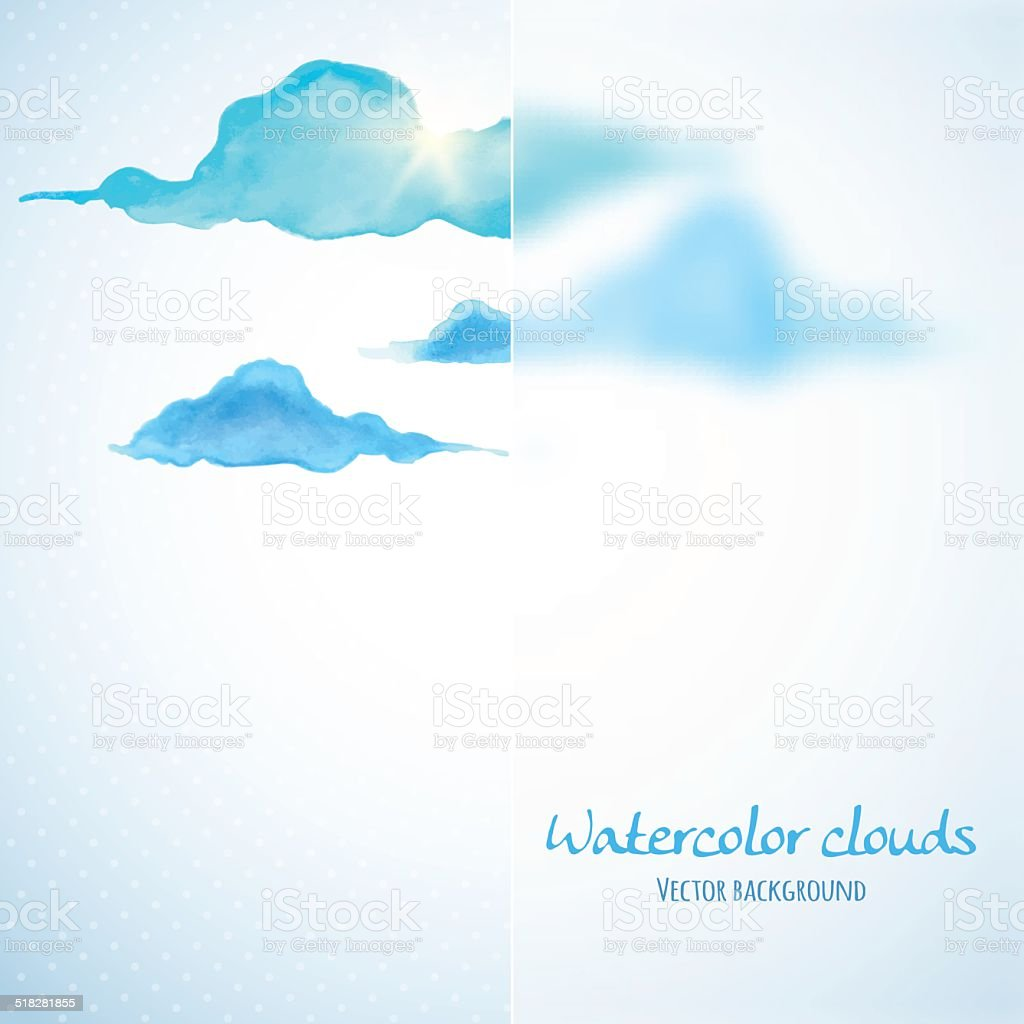 Watercolor clouds background with glass banner. Vector illustration vector art illustration