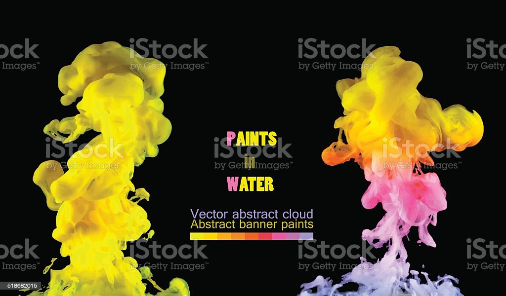Watercolor clouds. Paint spinning in water. vector art illustration