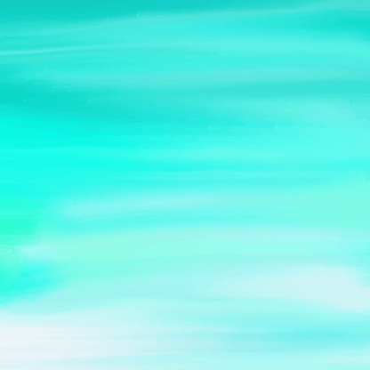 Watercolor Coastal Background. Turquoise Blue - Green Colored Hand Painted Abstract Texture.Tropical Summer Concept, Watercolor Strokes Design Element.