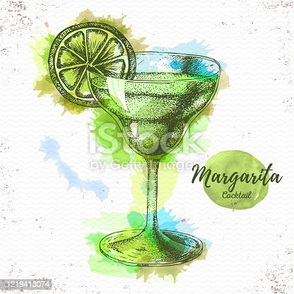 istock Watercolor cocktail margarita sketch. Cocktail vector illustration 1219413074
