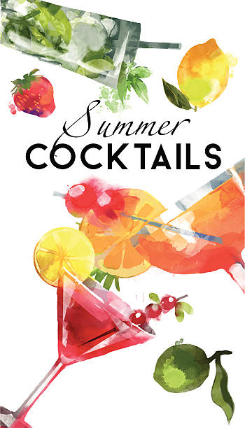 watercolor coctail flyer sex on the beach mojito cosmopolitan - alcohol drink backgrounds stock illustrations