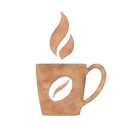 Watercolor Coffee Cup And Coffee Bean Logo