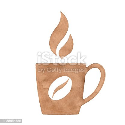 istock Watercolor Coffee Cup And Coffee Bean Logo 1238854556