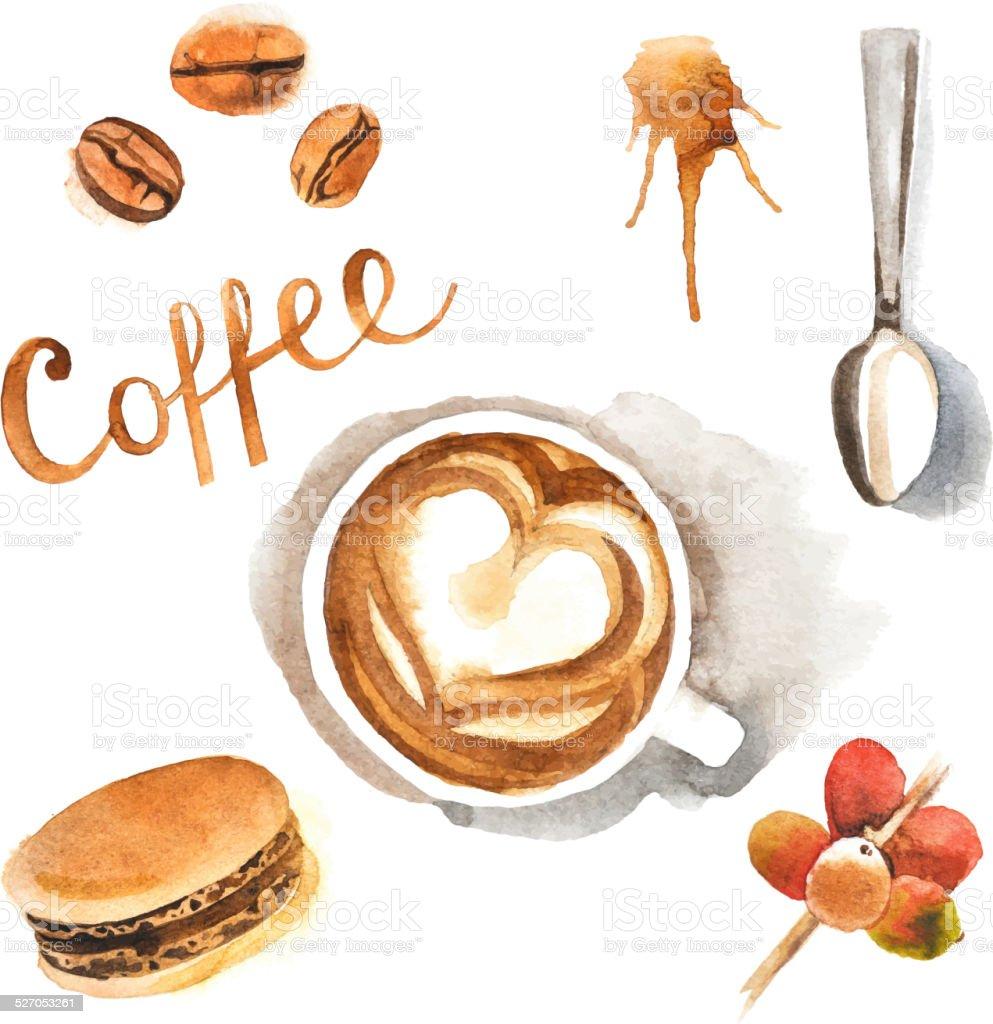watercolor coffee set vector art illustration