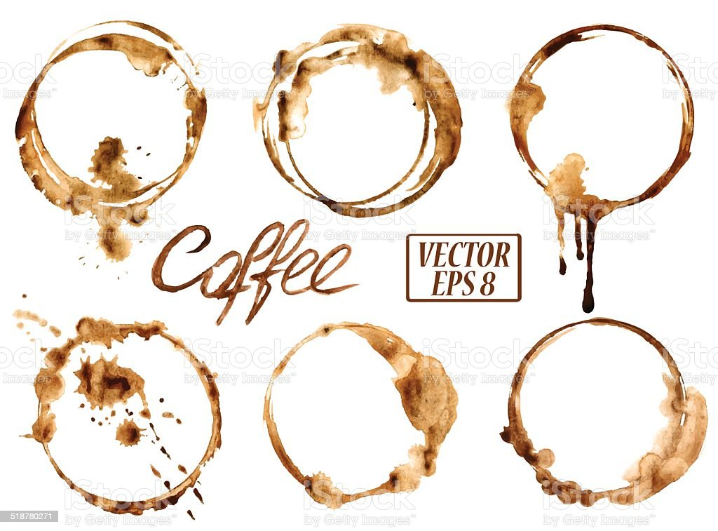 Watercolor coffee stains icons vector art illustration