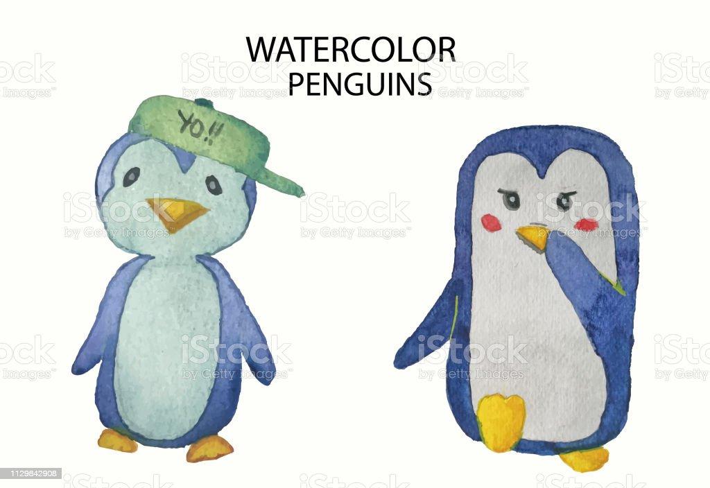 coleção aquarela de giro mão desenhada pinguins - ilustração de arte em vetor
