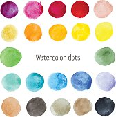Hand-drawn colorful stains. Painted vector circles and dots.