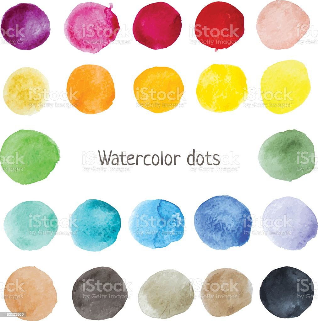 Watercolor color stains vector art illustration
