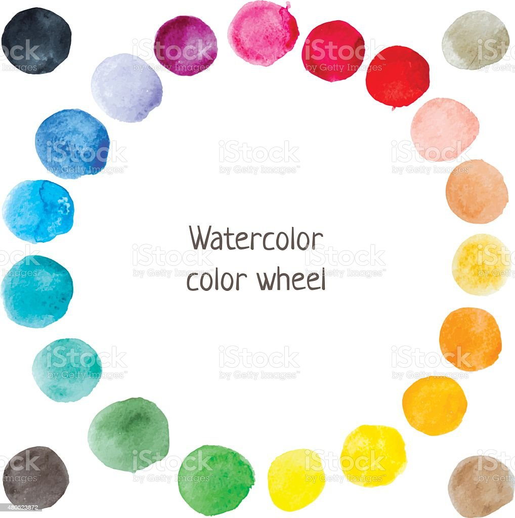 Watercolor color wheel vector art illustration