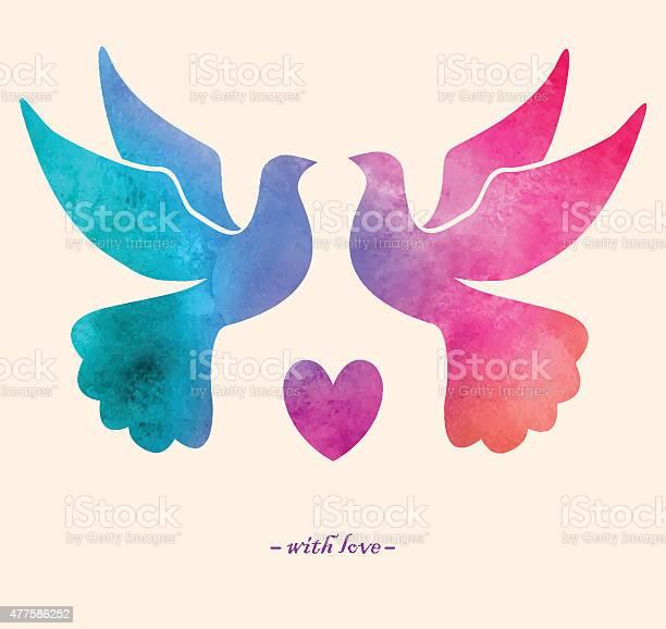 Watercolor colorful bird watercolor paintingtwo pigeons love vector id477586252?b=1&k=6&m=477586252&s=612x612&h=fwfwrio12cipomblic7bid9vw6s3jqexjv3gqg7xiy0=