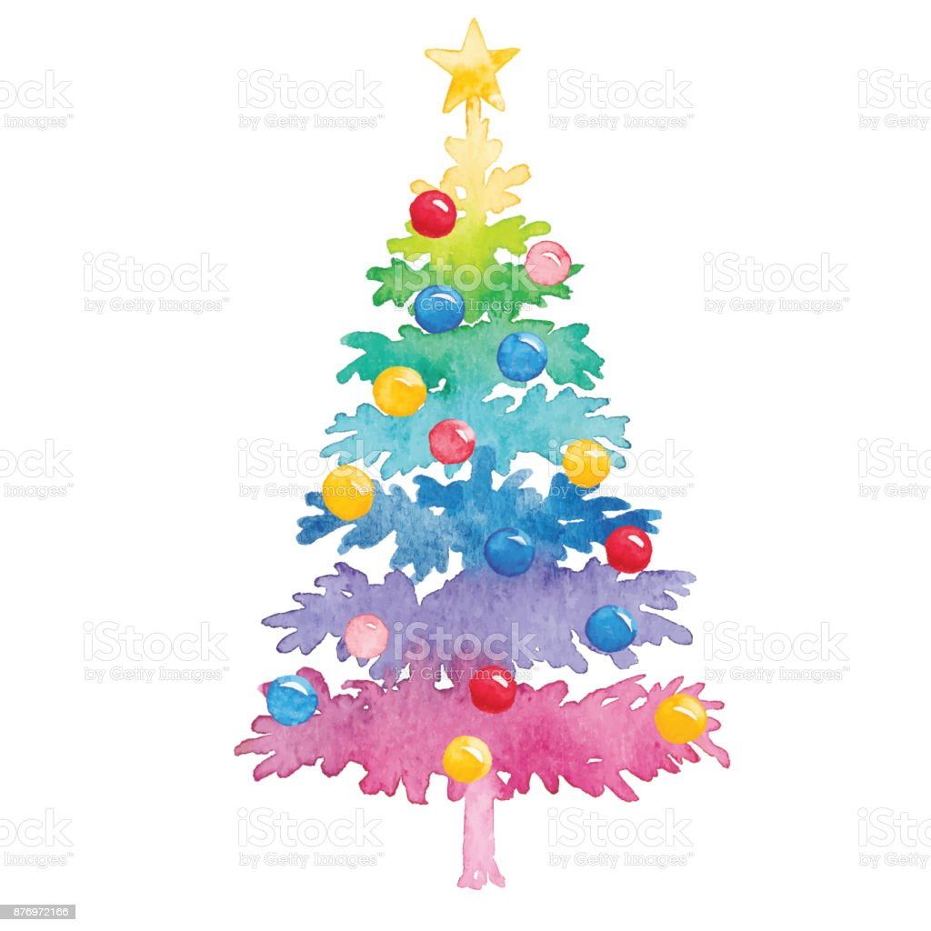 Watercolor Colorful Christmas Tree Stock Illustration Download Image Now Istock