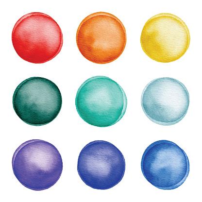 Watercolor Colorful Dots Set