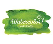 Watercolor colorful round spot, green stain