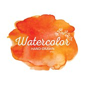 Watercolor colorful round spot, orange stain