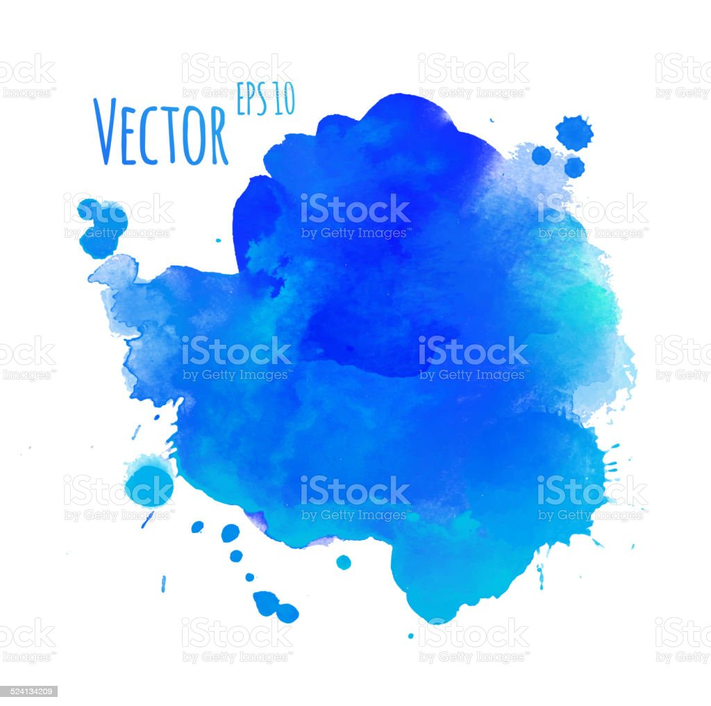 Watercolor colorful stain with smudges. vector art illustration