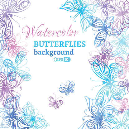 Watercolor colourful butterflies background.