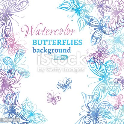 istock Watercolor colourful butterflies background. 536454765