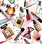 Watercolor cosmetics and perfumes collection