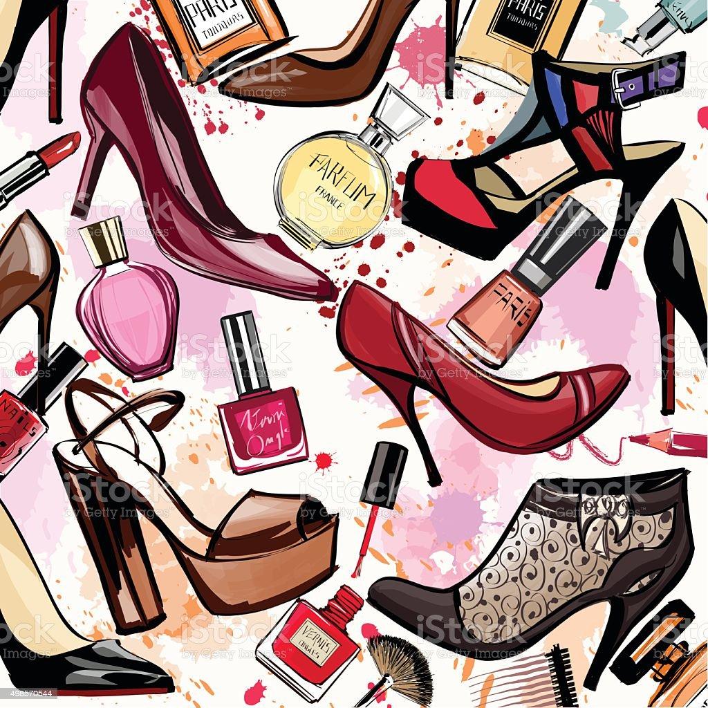 Aquarell Kosmetik und Schuhe Kollektion – Vektorgrafik