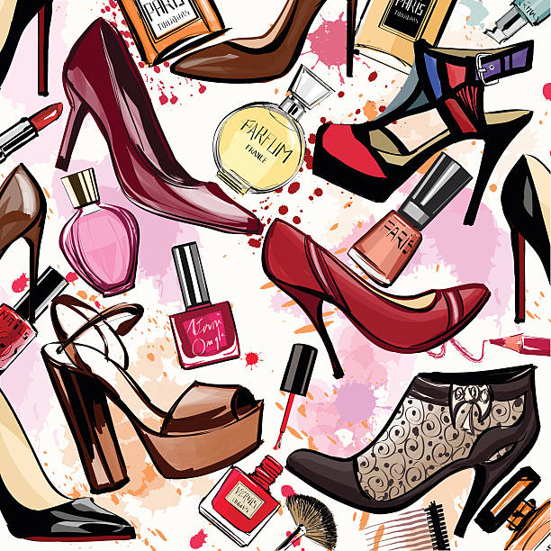 watercolor cosmetics and shoes collection - shoes fashion stock illustrations, clip art, cartoons, & icons