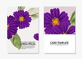Watercolor cosmos flower , botanical wild Field  floral template. Custom flower diy card, printable botanical art bouquet. Modern stationery, wedding invitation, blooming unique card. Vector