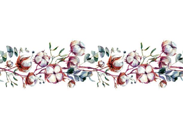 Watercolor Cotton Border vector art illustration