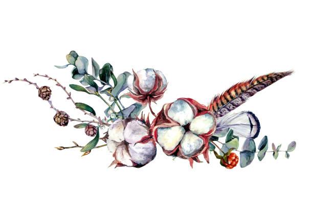 ilustrações de stock, clip art, desenhos animados e ícones de watercolor cotton decor - pena de pássaro algodão