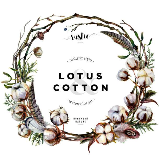 ilustrações de stock, clip art, desenhos animados e ícones de watercolor cotton wreath - pena de pássaro algodão