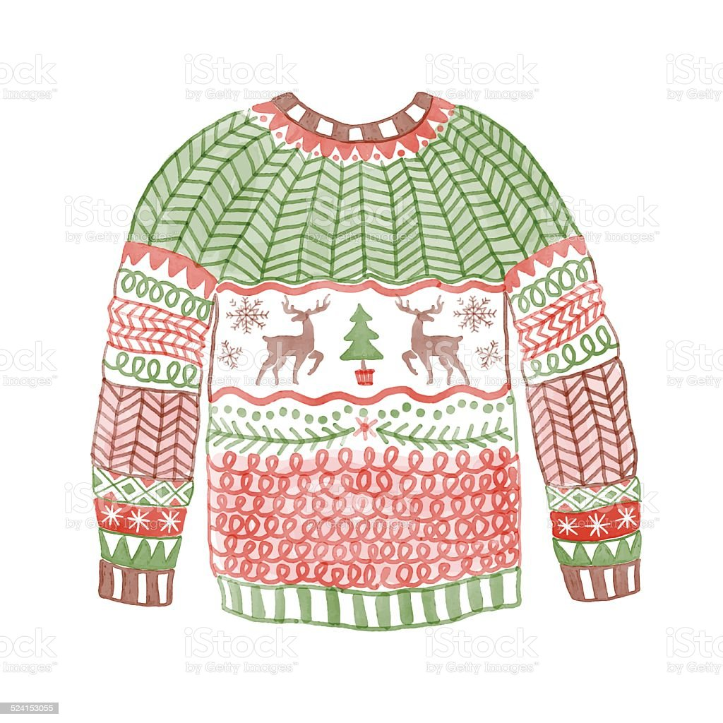 Watercolor cozy sweater with сhristmas deer. vector art illustration