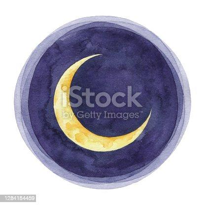 istock Watercolor Crescent Moon 1284184459
