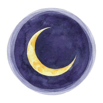 Watercolor Crescent Moon