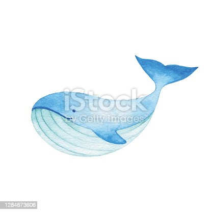 istock Watercolor Cute Blue Whale 1284673606