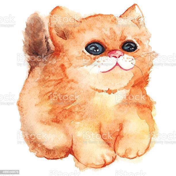 Watercolor cute cartoon fluffy ginger cat vector isolated vector id499056876?b=1&k=6&m=499056876&s=612x612&h=kokysbpiaberdnbrjdi2v9lemwcroazar cycuttrvo=