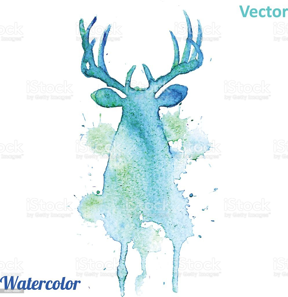 Watercolor deer head Vector on the white background. vector art illustration