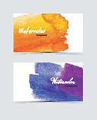 Vector illustration (eps 10) of Watercolor design cards