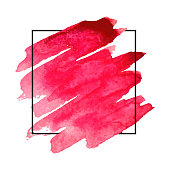 Vector pattern background with brush strokes in watercolor, enclosed in square. Original grunge art paint template for headline, symbol and banner.