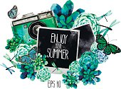Watercolor design with succulents, photo,camera, butterflies and dragonflies