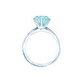 istock Watercolor Diamond Ring 1138561120