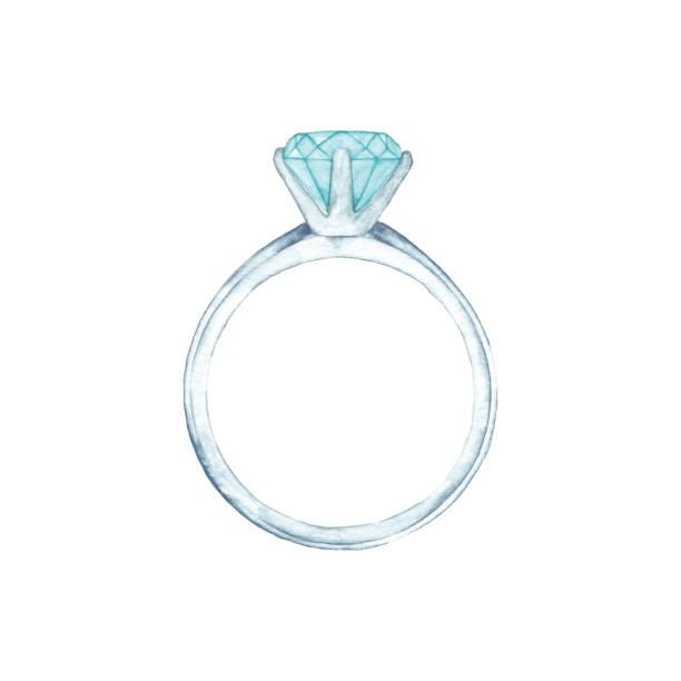 watercolor diamond ring - wedding stock illustrations, clip art, cartoons, & icons
