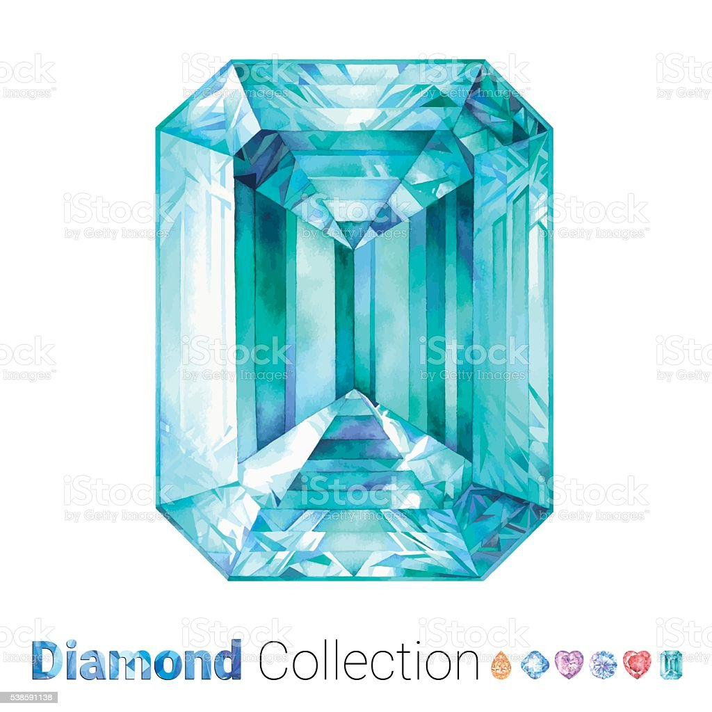 Watercolor Diamondcut Emerald vector art illustration