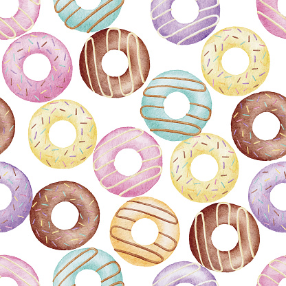 Watercolor Donut Seamless Background Pattern