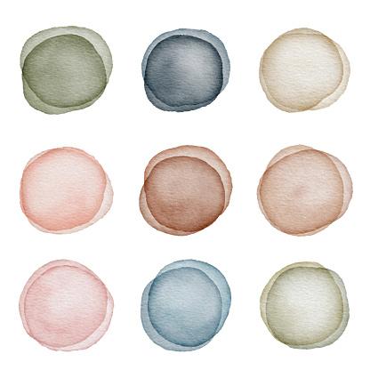 Watercolor Dot Design Elements Set
