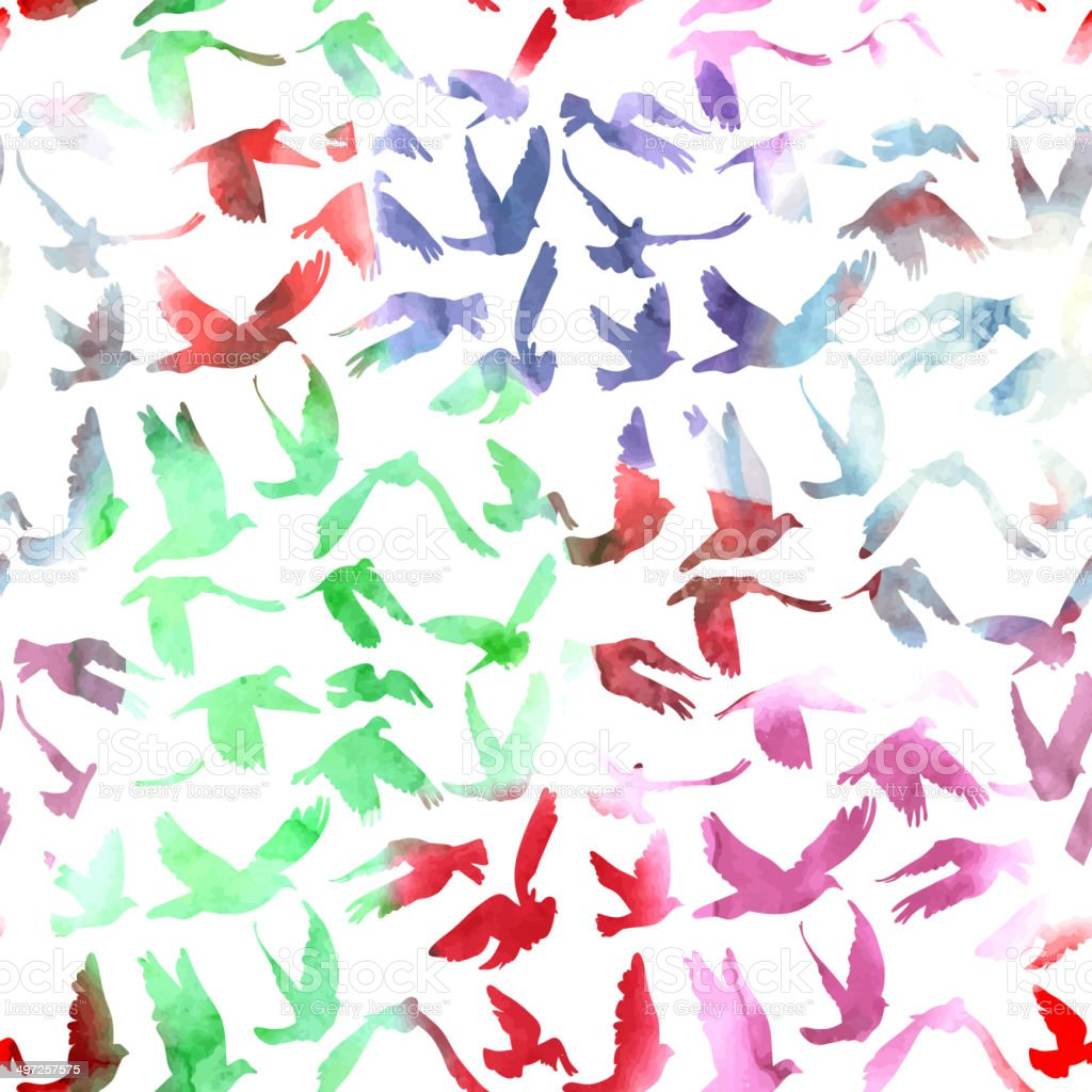 Watercolor Doves and pigeons seamless pattern on white background vector art illustration