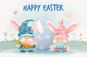Watercolor easter day with gnomes bunny and easter eggs
