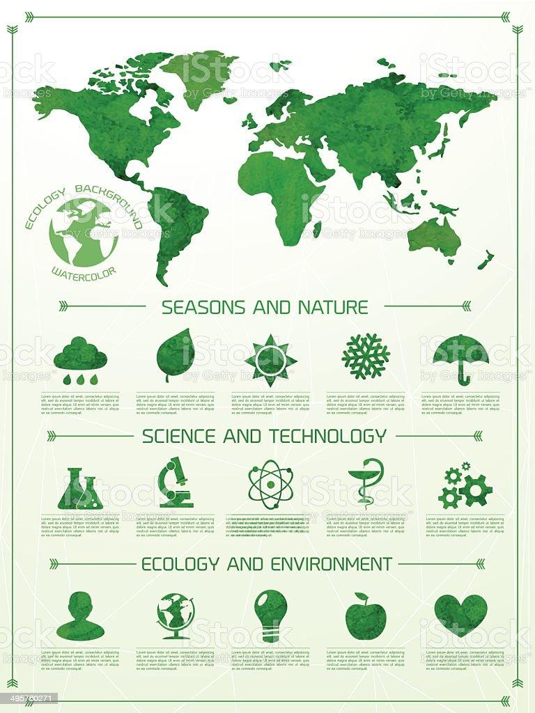 Écologie infographie Fond aquarelle - Illustration vectorielle