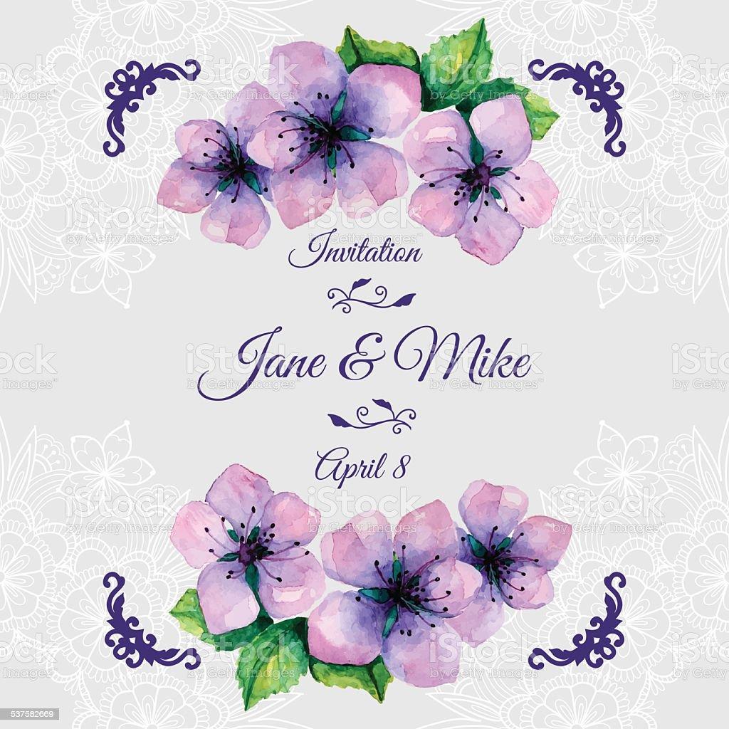 Watercolor Elegant Wedding Invitation With Japanese Sakura Stock ...