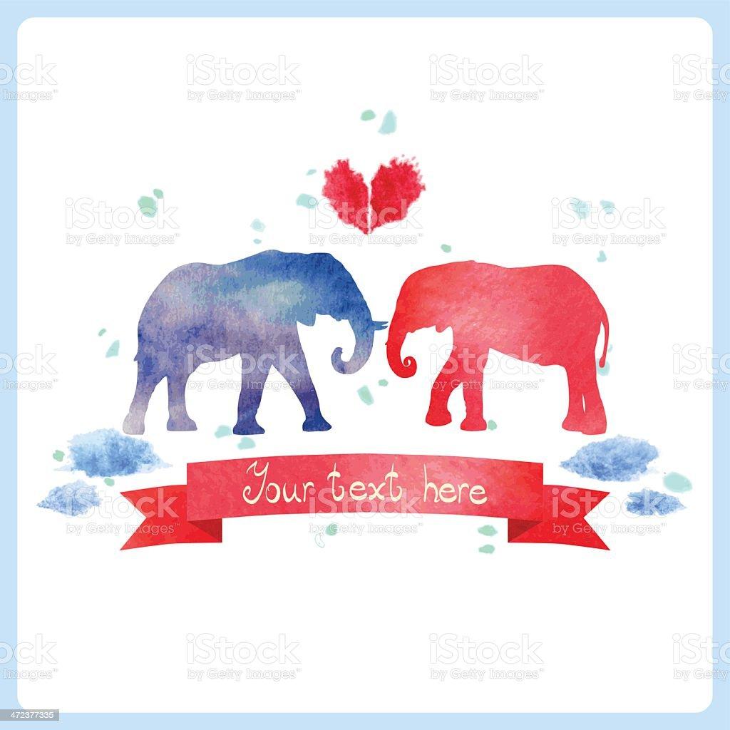 Watercolor elephants. royalty-free stock vector art