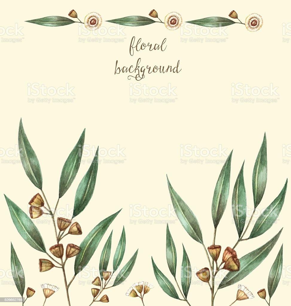 Watercolor eucalyptus leaves vector art illustration